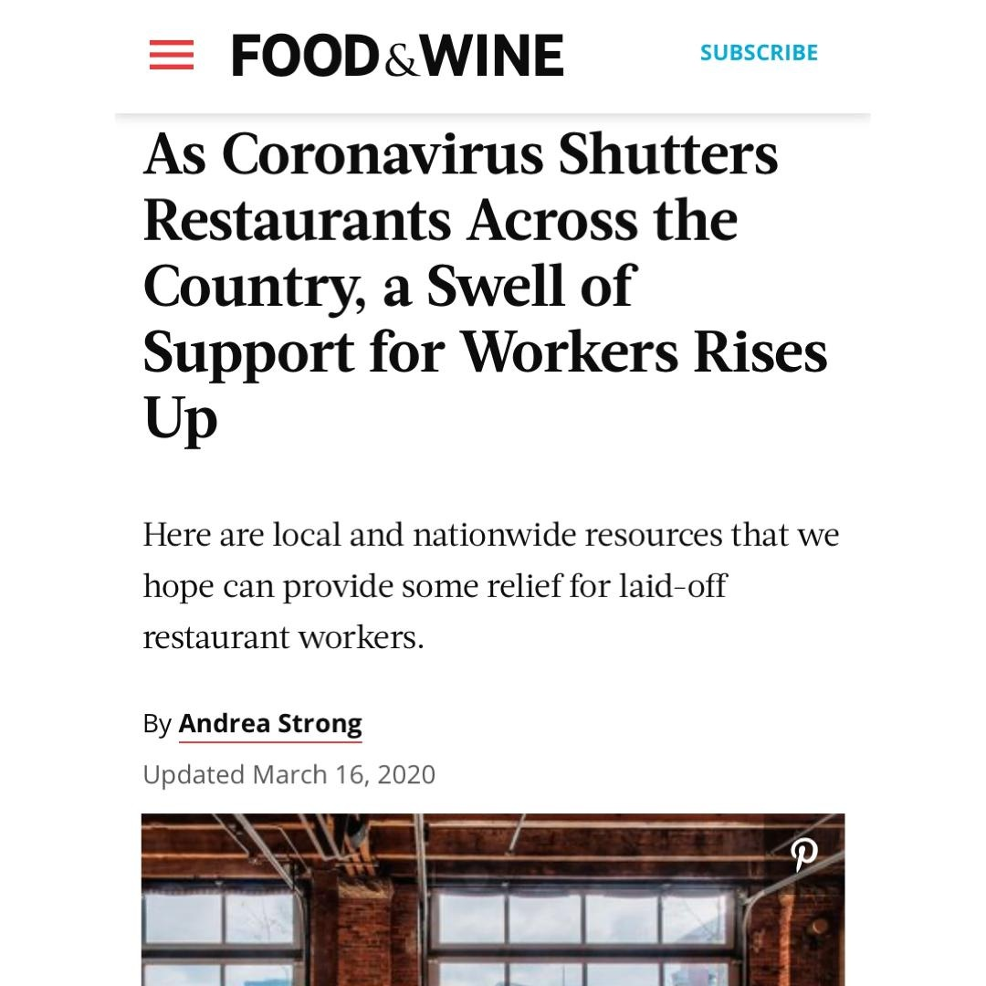 Food & Wine Coronavirus Article