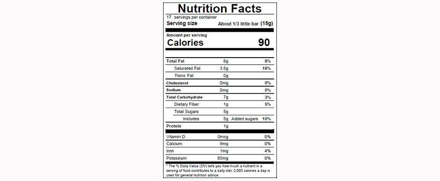CARAÏBE 66% Nutritional Facts