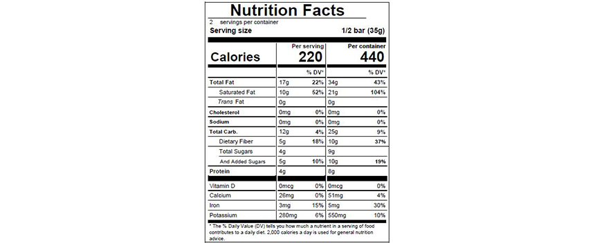 ABINAO 85% Nutritional Facts