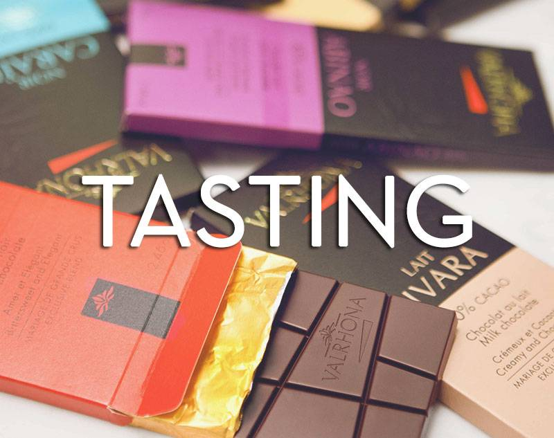 Button for Valrhona's Tasting Bar Products Selection